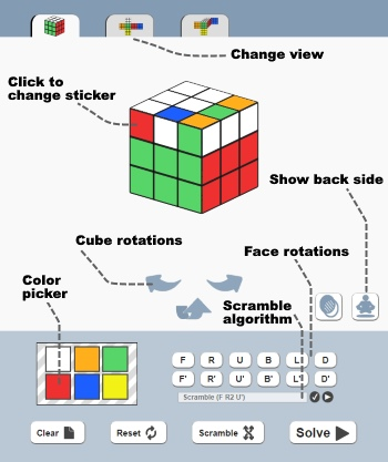 Rubik's Cube solver user interface